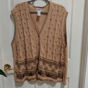 Korey Size 1X Knit Vest with Embroidered Design
